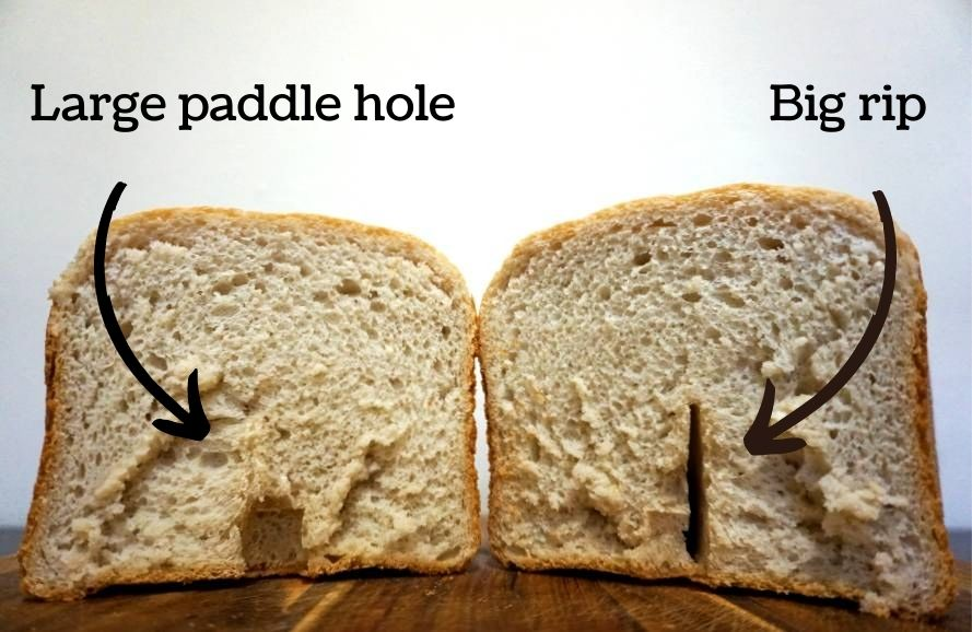 Large paddle hole at the bottom of loaf