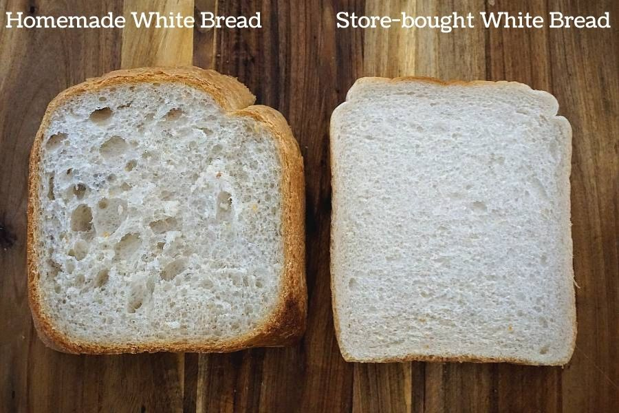 homemade bread and store-bought bread