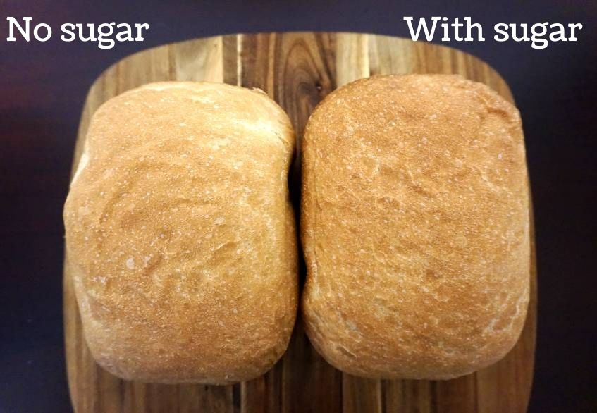 bread with and without sugar